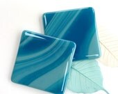 Fused glass coasters ~ pair turquoise teal glass coasters drinks mats home decor housewarming present New home Wedding gifts hostess gift