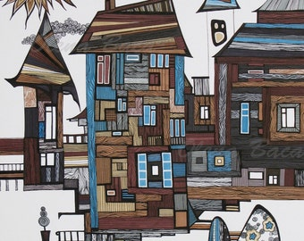 """Old Town Drawing, ABSTRACT, Original Illustration, Mixed Media, Building, Wall Art 11""""x14"""" by Olena Baca, Gift Ideas"""