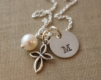 Sterling Silver Personalized Hand Stamped Letter Necklace with Sterling Silver Cross- Bridal Party- Wedding Gift for Her