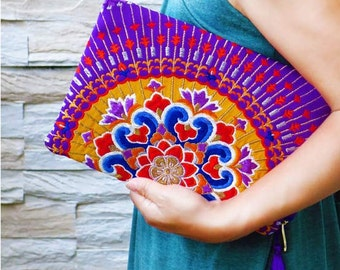 "Kimono Clutch Bag  ""Asian Purple"""