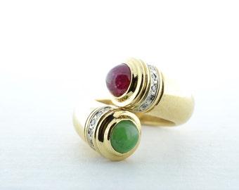 Vintage Custom 14K Yellow Gold Ruby, Jade and Diamond Ring - Size 7