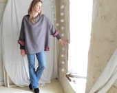 Grey Red Spot Tunic Sweater with Frayed Neck - Ready to Ship
