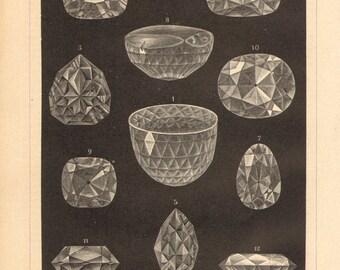 1894 Gemstones, Famous Diamonds, Great Mogul, Regent Diamond, Florentine Diamond, Star of the South, Koh-i-Noor, Hope Diamond Antique Print