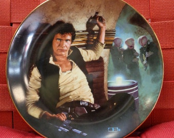 STAR WARS, Han Solo, Harrison Ford,1986,LOW #0048,Mos Eisley Cantina,LucasFilm Ltd,Hamilton,Ceramic,Limited Edition Collectors Plate,Disney
