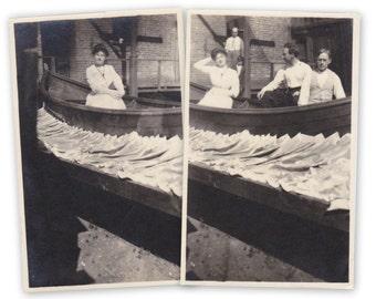 Fishmongers- 1910s Antique Photographs- Fisherman's Wife- Fish Fillets- Fish Market- Edwardian Snapshot- Found Photo- Paper Ephemera