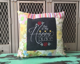 Sampler Chalkboard Style Pillow This Is My Happy Place - Ready to Ship