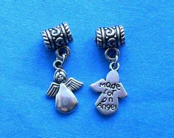 Antiqued Silver Angel Front and Back Charm Pendant destash collection SALE USA