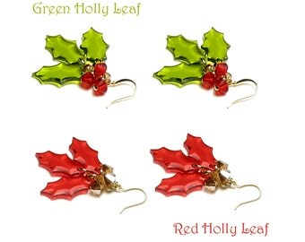 Green Holly Leaf Earrings, Red Holly Leaf Earrings, Gold Christmas Earrings, Swarovski Crystal Berry, Women's Xmas Jewelry, Holiday Gift Box