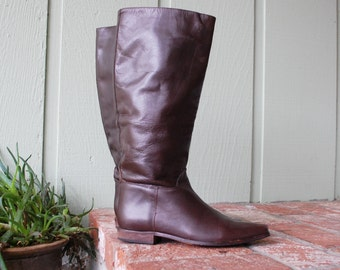 Vintage Womens 8 Charles David Leather Brown Tall Pullon Riding Campus Fashion Boots Boot Boho Hipster Moto Biker Fall Autumn Spain Designer