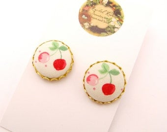 Cherries Fabric Post Earrings - Ivory, Red, Pink, Green, Gold