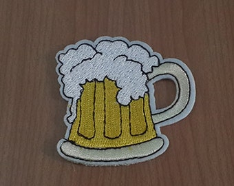 "Frothy Beer Mug Embroidered Iron on Patch size 2 1/4"" x 2 1/4"""