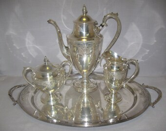 Silver Plate William Rogers & Sons Qty 4 Tea Pot Set Pattern Cadense 1856-1873