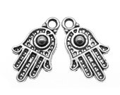 Silver Charms : 10 Antique Silver Hamsa Charms / Silver Ornate Hand of Fatima Pendants ... 20x11mm -- Lead Free Jewelry Findings 330.J2F