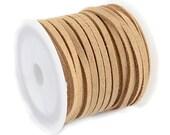 Faux Suede Cord :  5 meters (16 feet) Tan Khaki 3x1.5mm Lace Cord | Flat Faux Leather Bracelet Cord |  Suede Cording 003-16