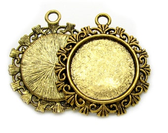 Pendant Trays | Pendant Settings : 10 Antique Gold Round Cameo Settings / Bezels ... Holds 20mm cabochon -- Lead & Nickel free H3H