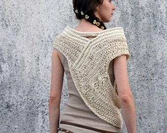 Katniss inspired huntress cowl vest  in cream, ecru, white for spring summer