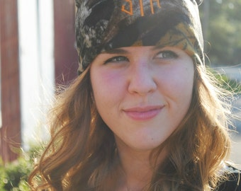Monogrammed Dark Camouflage Fleece Beanie Hat