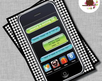 iPhone Birthday Invitation, Birthday Invitations, Boys Birthday Invitations