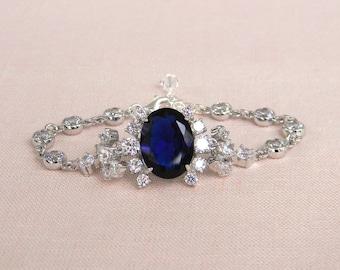 Crystal Bridal Bracelet, Sapphire Blue crystal jewelry, Bridal Jewelry, Crystal wedding jewelry, Bridesmaid, Swarovski, Raquel Bracelet