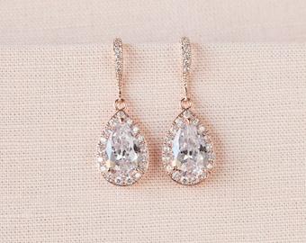 Rose Gold Bridal earrings, Pink Gold Wedding jewelry, Swarovski Crystal Wedding earrings Bridal jewelry, Ariel Drop Earrings