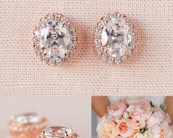Rose Gold Bridal Earrings, Oval Stud Wedding Earrings, Bridesmaid jewelry Wedding jewelry Bridal Jewelry, Oval Crystal Stud earrings