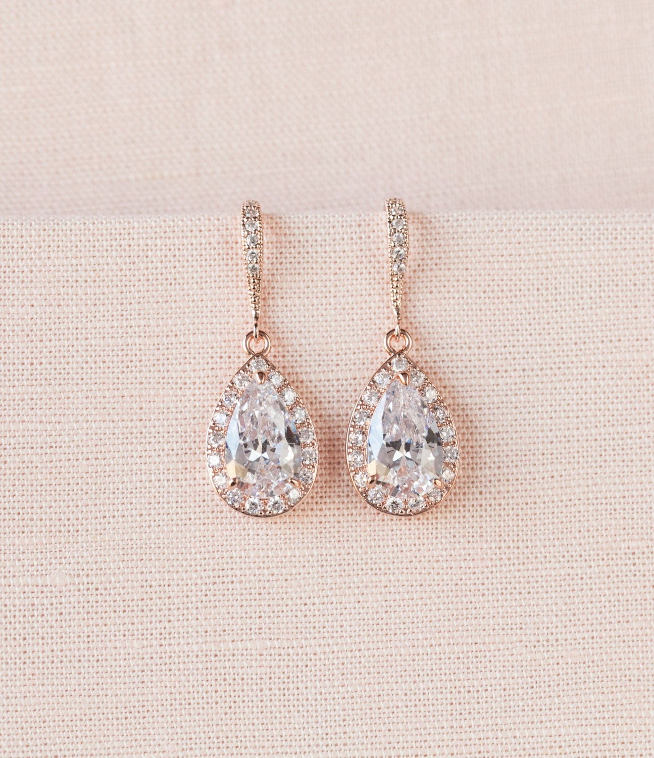 Rose Gold Bridal earrings, Pink Gold Wedding jewelry, Swarovski Crystal Wedding earrings Bridal jewelry, Ariel Drop Earrings
