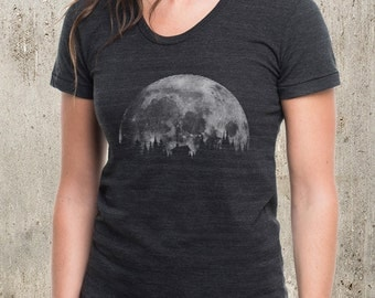 Women's Cabin & Moon T-Shirt - American Apparel Women's Tri-Blend T-Shirt