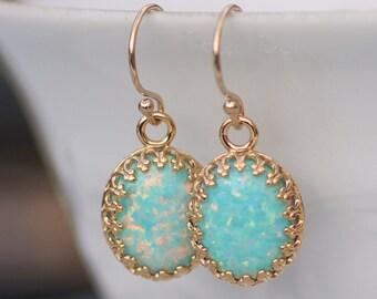 RARE 14K Gold Filled Seafoam Opal Earrings,Lab Created OpalMint Gemstone Earrings,Small Dangle Drop Earring,Gold Crown Setting,Birthstone