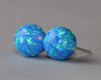 NEW Denim Marine Blue Opal Ball Post,UNIQUE Color Lab Created Opal Stud,Opal Post Earring,October Birthstone,Gemstone Stud,Gift For Her,Blue