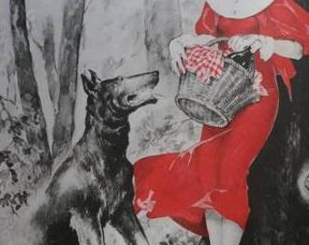 Original Vintage French Ad Byrrh Little Red Riding Hood by Georges Léonnec 1933