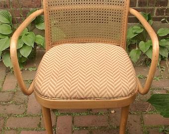 Vintage 1950's Josef Hoffman for Stendig Bentwood Cane Chair, Mid Century Modern chair, Czechoslovakia, Armchair, Orange, Wood chair