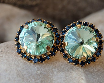 Mint Stud Earrings, Mint and Blue Swarovski Stud Earrings, Green Earrings, Mint Crystal Earrings, Mint Earrings, Bridesmade Jewelry Gift