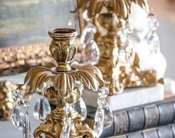 Vintage Pr Hollywood Regency Candle Holders, Brass with Crystal Prisms, Marble Base