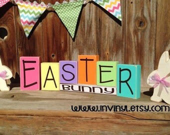EASTER BUNNY Spring wood blocks holiday stacking home decor seasonal - with vinyl lettering