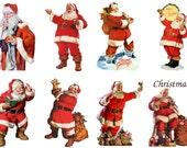 "Large Stickers (each sticker 2.5""x3.5"", pack 8 stickers) Scrapbooking Craft Vintage # Santa Claus FLONZ 307"