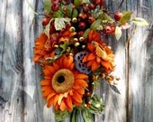 RESERVED FOR KAY 2 Fall Wreath , Rustic Wreath , Wreath , Fall Wreath ,  Door Wreath , Autumn Wreath , Sunflower Wreath Swag