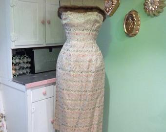 Vintage Wiggle Dress - Brocade Dress - MCM Dress - Mink Dress - Madeleine Fauth Dress - Vintage Formal Dress