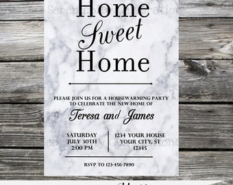 Housewarming Invitation, Baby Shower Invite, Bridal Shower Invite, Birthday Invitation, Marble Invitation,  Printed Invitation,  New Home