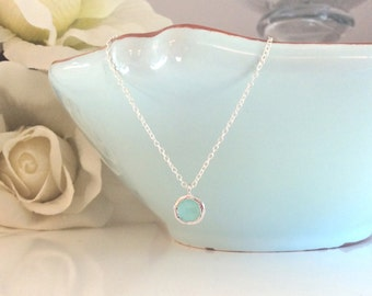 Silver Necklace, Mint Necklace, Bridesmaid Necklace, Light Blue Wedding, Gifts for her, best friend gifts, girlfriend gifts, wedding jewelry