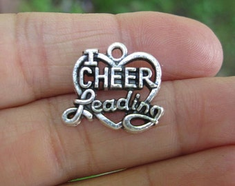 10 Cheerleading Charms in Silver Tone - C2448