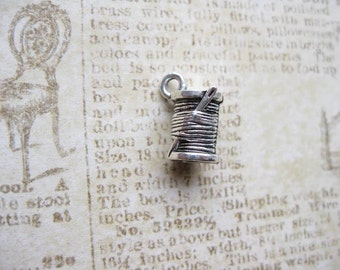 5 Spool of Thread Charms in Silver Tone - C2297