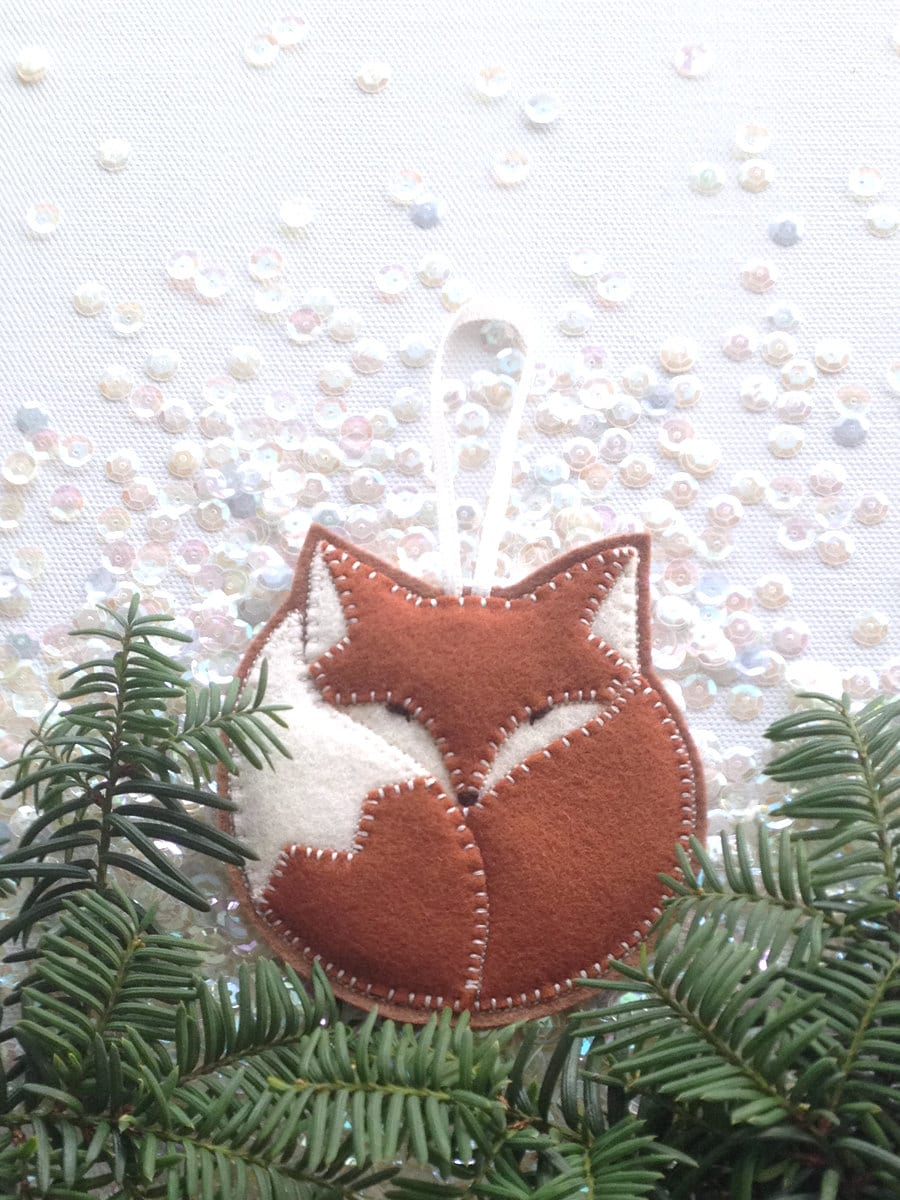 Felt Fox Ornament Tree Ornament Handcrafted From 100 Wool