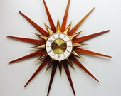 Starburst Wall Clock 1970s by Elgin - Mid Century Modern Sunburst Hanging Wall Clock, Atomic Design. Completely Refurbished
