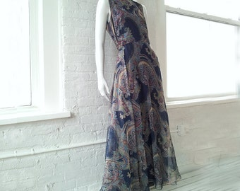 1960s Blue Paisley Chiffon Cocktail Maxi Dress 60s Vintage Navy Boho Indian Print Fit and Flare Full Skirt Medium Large Ball Gown Prom Dress