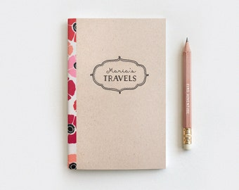 Travel Journal & Pencil Set - Christmas Gift Idea - Poppies Floral Journal on Brown, Customized Personalized Stocking Stuffer - Mini, Large
