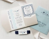 "Baby Shower Invitations for Boys, Trendy - Customizable Colors, Ivory Pocket, Pale Aqua Envelope, Navy Blue - ""Shake, Rattle & Roll"""