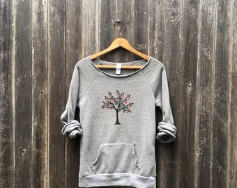 Old Orchard Cherry Tree Sweatshirt, Yoga Top, Cozy Sweater, Pullover, S,M,L,XL,2XL