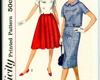 1959 Simplicity Two Piece Dress with Full or Wiggle Skirt Sewing Pattern in 2 Styles 2836, Size 16, Bust 36, Uncut