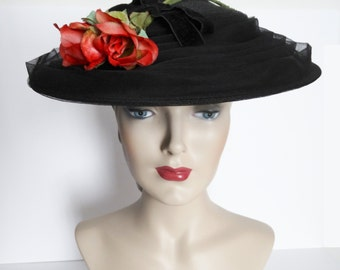 Vintage 1950s Hat// Hollywood//Red Rose//Netting// Garden Party// Mad Men//Femme Fatale//Mod//New Look// Couture