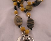 Handmade Beaded Necklace with Marble Beads, Czech Glass and Owl Pendant 22 inches long